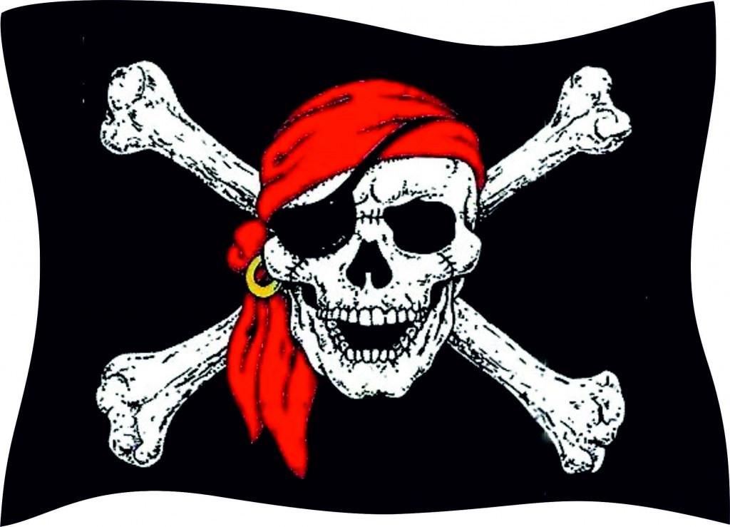 это картинка черепа на пиратском флаге плавают