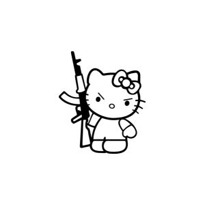 Наклейка на авто Hello Kitty AK47